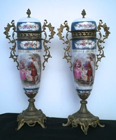 Pair of porcelain vases - Germany, second half of the 19th century