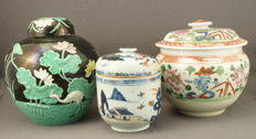 Collection of 3 pots with lid, i.a. ´emaille sur biscuit´ pot - China - late 20th century