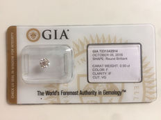 0.50 ct brilliant cut diamond, colour F, Loupe Clean IF clarity, with GIA certificate