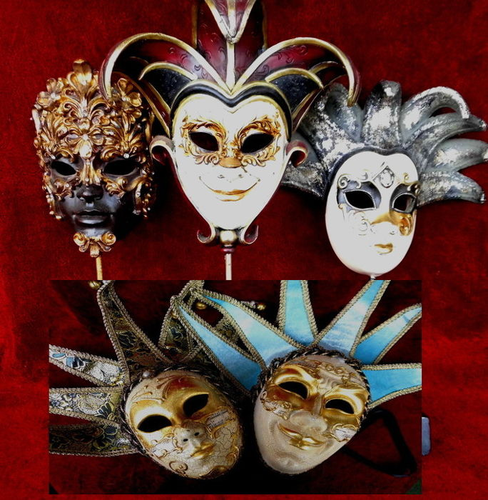 Five Venetian masks, hand-painted, three of which to be used as decoration on a display stand and two (male & female mask) can be worn.