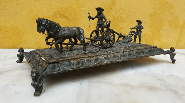 Bronze sculpture - ploughing - period 1870 - France