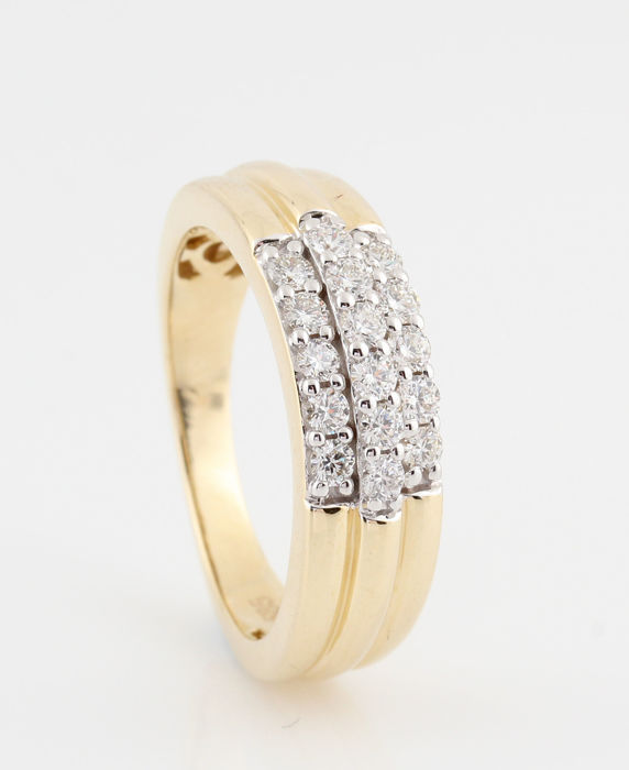 14 kt yellow-gold ring with diamonds of 0.50 ct, G-H, VVS2-VS2, 5.20 g, 56.5 ring size, new