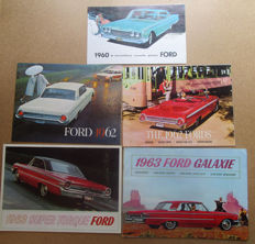 FORD - lot of 5 brochures Galaxie, Fairlane, Falcon, Tbird 1960, 1962, 1963