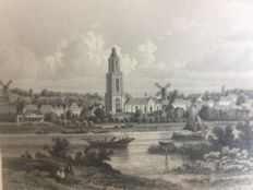 3 topographical prints - unknown maker 19th century - Churches in Gouda Rhenen and Zeist