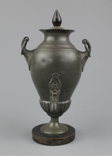 Antique small size pewter jug with tap, Belgian-Germany-circa 1840.