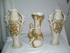 Royal Dux - A set of 3 Art Nouveau vases