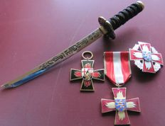 Collection of 3 German orders: Fire brigade, Association of the German fire brigade, for achievements in fire protection & letter opener as a Samurai sword