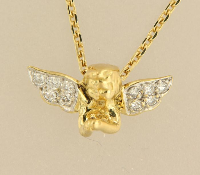 14 kt yellow gold necklace with bicolour gold angel pendant set with 14 kt yellow gold necklace with bicolour gold angel pendant set with 10 diamonds necklace aloadofball Images