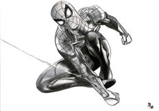Diego Septiembre - Original Charcoal and Graphite Drawing - Spiderman