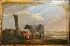 Unknown. ( 18/19th century) -  Cattle in a landscape.