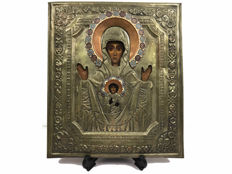 Icon with copper riza and enamel - Mother of God of the symbol of Novgorod - Russia