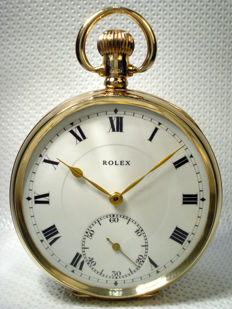 Rolex Antique Swiss Solid gold 9ct Pocket watch - Art 1923 Year