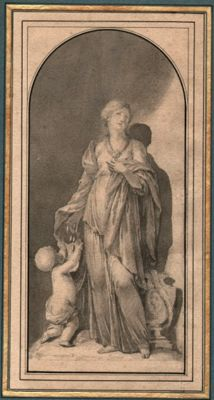 Arnold Houbraken ( 1660 - 1719) Circle of  - A drawing representing:  Charity - Grisaille in wash - around 1700-1720