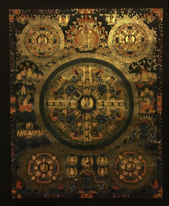 Hand painted Thangka painting,  Buddha  Mandala - Tibet/Nepal - late 20th century
