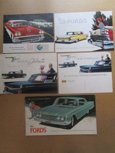 Ford - Lot of 5 original brochures for the models Galaxy / Fairlane / Custom 300 / Starliner / Sunliner - from 1958 to 1960