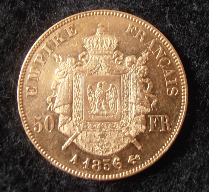 France - 50 Francs 1856 A (Paris) - Napoleon III - Gold