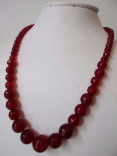 Facet cut, 6-13 mm Ruby beads – women's necklace – 14 kt gold clasp - necklace length 44 cm