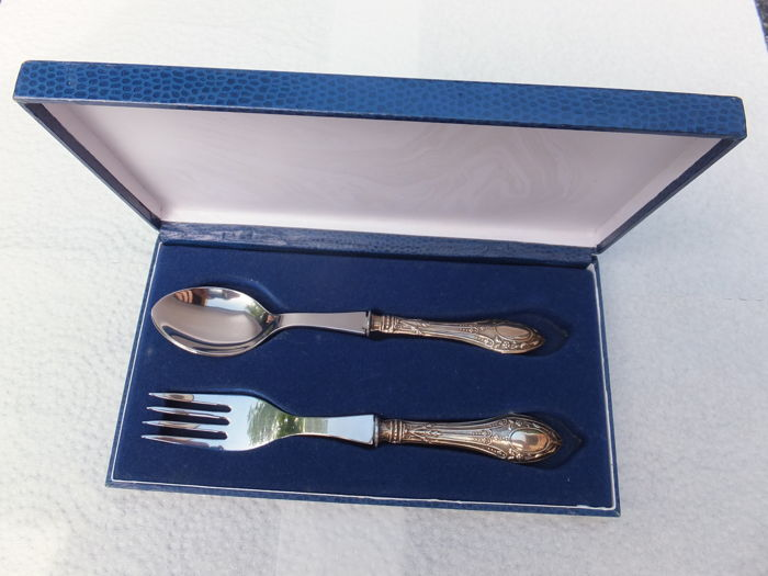 A children's cutlery set with silver handles, The Netherlands, 2002