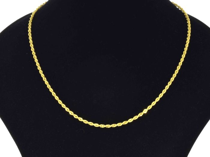 18k Gold Necklace. Chain. Rope. - 45 cm - No reserve price.