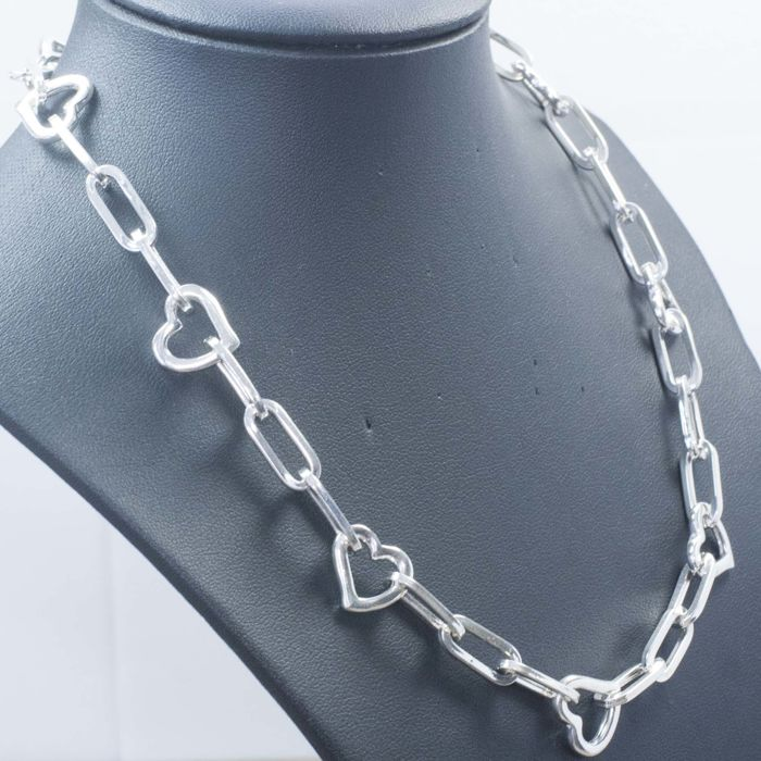 Necklace in 925/1000 Silver with Italian 'Cuore' (Heart) Design — Length: 45 cm