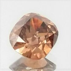 Cushion Cut  - 0.74 carat  - Natural Fancy Intese Brown - VS1 clarity  - Natural Diamond  Comes With AIG Certificate + Laser Inscription