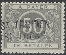 Belgium 1919 - Surcharge - 50c Grey type from 1916 with signature  of distribution office - OBP no.  TX16A