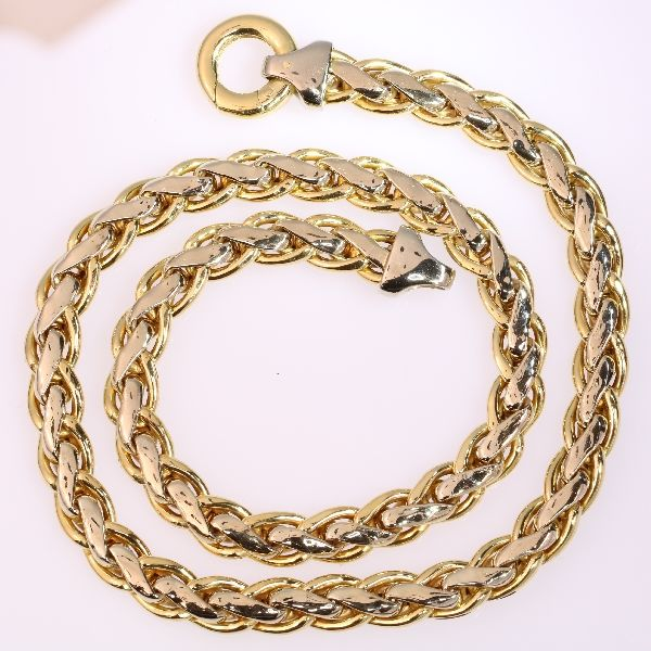 Men's wheat chain necklace in bicolour gold - 45cm