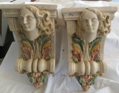 A pair of unique stone plaster consoles - depicting two classical goddesses - Greece-20th century