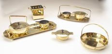 Dutch Art Nouveau brass teaset in the style of Jan Eisenloeffel - 9 pieces