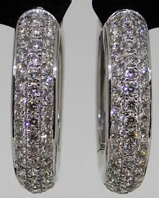 Handmade 18kt white gold earrings set with top quality brilliant cut diamonds 0.95 ct