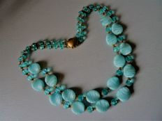 Superb two-strand necklace in glass paste, handmade.