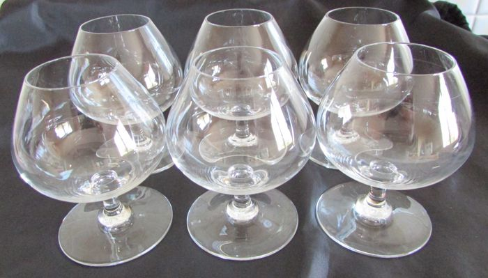 6 Baccarat crystal cognac glasses signed under the stem