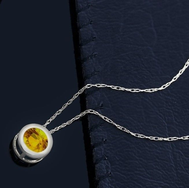 14 kt gold necklace with 0.5 Sri Lanka yellow sapphire, length: 46 cm