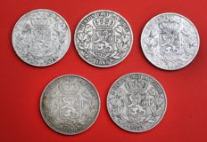 Belgium – 5 francs 1867, 1868, 1869, 1870 and 1871, Leopold II – silver