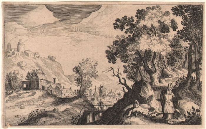 Simon de Vries called Frisius ( 1575- 1629 )  - Landschap with the good Samaritain - 1611