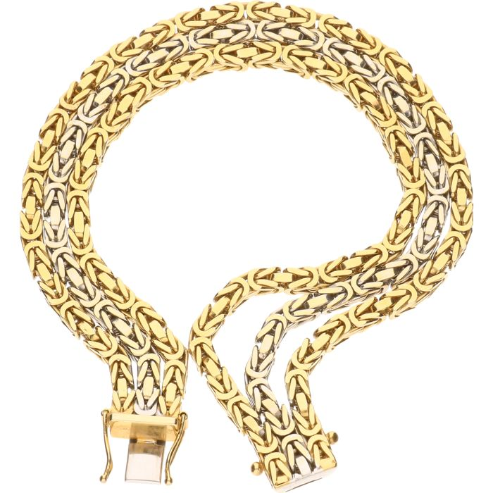 14 kt bicolour three-rowed gold king's braid link bracelet - Length 21 cm