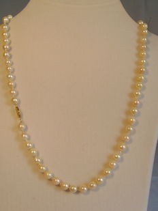 Long genuine white saltwater pearl necklace, light baroque Akoya pearl necklace