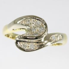 Diamond and gold wave design ring from the fifties
