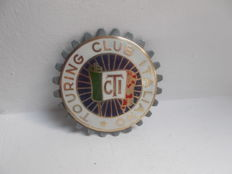 vintage  ITALIANO TOURING CLUB brass and enamel car badge original with fixings  early car badge