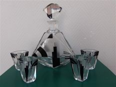 Karl Palda - Art Deco decanter with 4 glasses