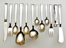 WMF - 34-piece dessert, ice cream, cake, coffee, mocha, fruit cutlery - design by Atelier MAYER - Bauhaus / Art Deco