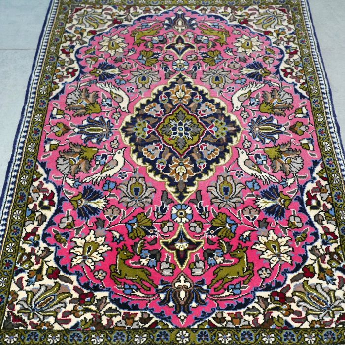 Superior finely knotted tree of life Qom Persian carpet –very good condition – with certificate