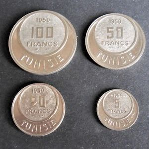 Tunisia (Colony) – 5, 20, 50, and 100 Francs 1950/1954 Proof (lot of 4 coins) – CuproNickel