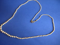 A cultured seawater Akoya pearl necklace with a golden clasp in the Art Deco style