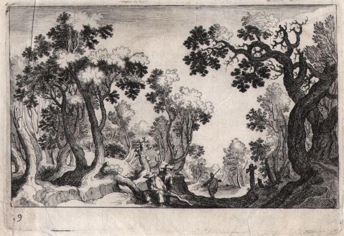 Simon de Vries called Frisius ( 1575- 1629 )  - View of a forest with various figures - 1611
