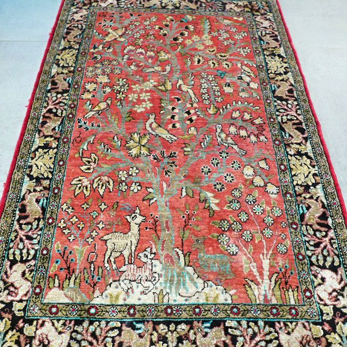 Unique old tree of life Ghom Persian carpet – around 1940 – entirely made of silk – with certificate