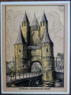 4 old school posters with city scapes in The Netherlands