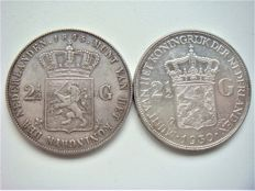The Netherlands – 2½ guilder, 1845a and 1932, William II and Wilhelmina – silver
