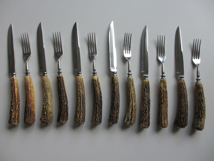 Steak cutlery set with stag horn handle, 6 pieces, Solingen Germany