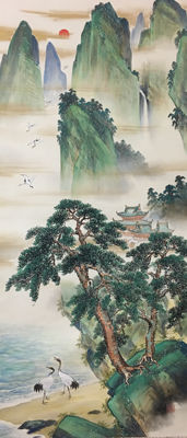 Very beautiful hand painted scroll 蓬莱仙境 - China - late 20th century